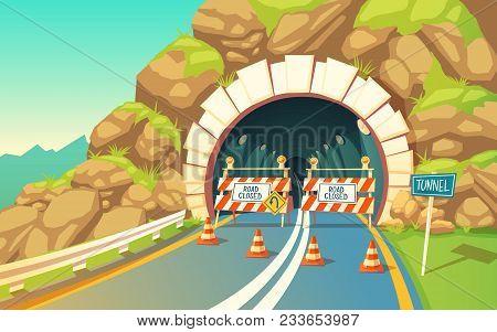 Vector Cartoon Illustration Of Roadwork In Tunnel, Highway. Repair Signs, Roadblock, Detour, Traffic