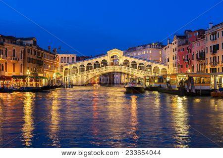 View Of Famouse Rialto Bridge At Night, Venice, Italy