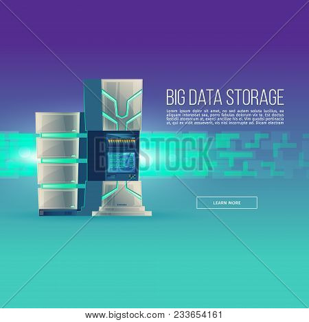 Vector Poster Of Cartoon Database Center. Control Room With Server Rack - Big Data Storage. Hosting,