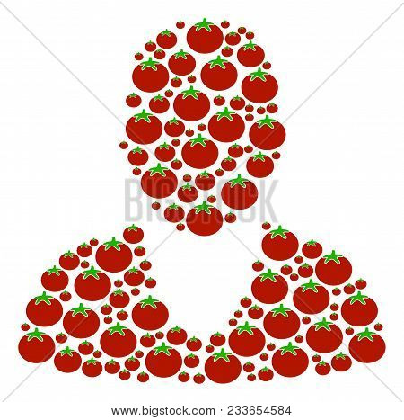 Client Composition Of Tomato In Variable Sizes. Vector Tomato Symbols Are Combined Into Client Compo
