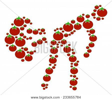 Fart Gases Collage Of Tomato Vegetables In Various Sizes. Vector Tomato Vegetable Elements Are Compo