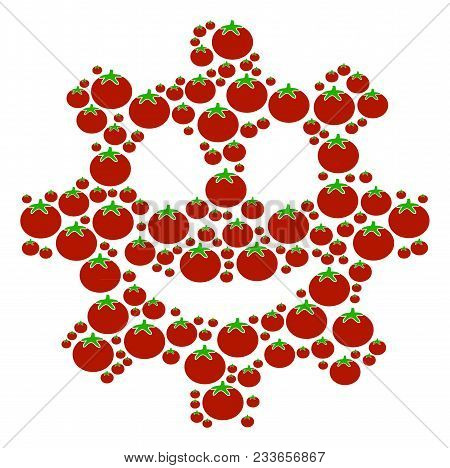 Gear Smile Smiley Mosaic Of Tomato Vegetables In Different Sizes. Vector Tomatoes Objects Are Compos