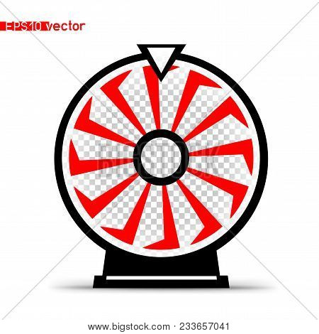 Isolated Fortune Wheel Icon Symbol. Gamble Lottery Jackpot Prize Spin Object Silhouette With Shadow