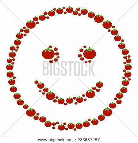 Glad Smiley Composition Of Tomato In Various Sizes. Vector Tomato Elements Are Organized Into Glad S