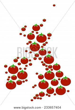 Great Britain And Ireland Map Composition Of Tomato Vegetables In Various Sizes. Vector Tomato Items