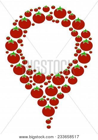 Map Marker Mosaic Of Tomato In Variable Sizes. Vector Tomato Vegetable Objects Are United Into Map M