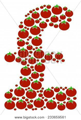 Pound Sterling Mosaic Of Tomatoes In Different Sizes. Vector Tomatoes Items Are Organized Into Pound