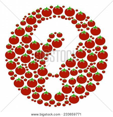 Query Composition Of Tomatoes In Different Sizes. Vector Tomato Vegetable Symbols Are Combined Into