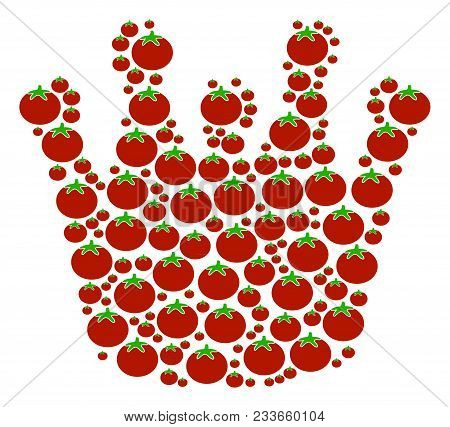 Royal Mosaic Of Tomato In Various Sizes. Vector Tomato Items Are United Into Royal Figure. Organic V