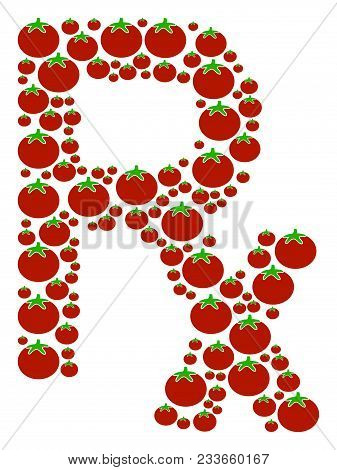 Rx Symbol Mosaic Of Tomato Vegetables In Different Sizes. Vector Tomato Objects Are Combined Into Rx