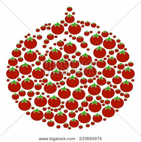 Tomato Vegetable Composition Of Tomatoes In Various Sizes. Vector Tomato Elements Are Composed Into