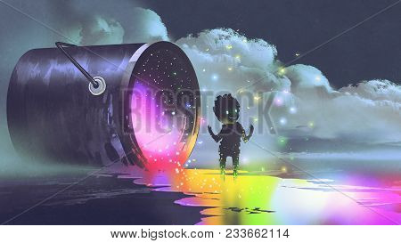 Fantasy Illustration Showing A Big Bucket Lying On Surface And A Cute Creature Standing On Puddle Of