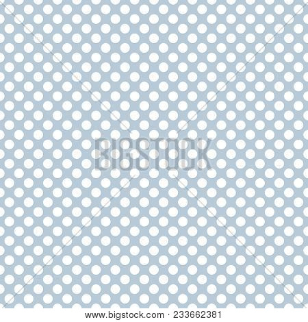 Tile Vector Pattern With White Polka Dots On Grey Blue Background