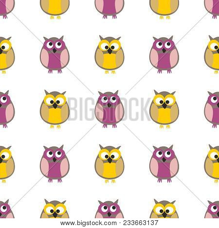 Tile Vector Pattern With Owls On White Background