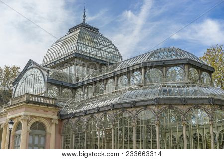 Glass palace of madrid in the garden of the retreat, spain