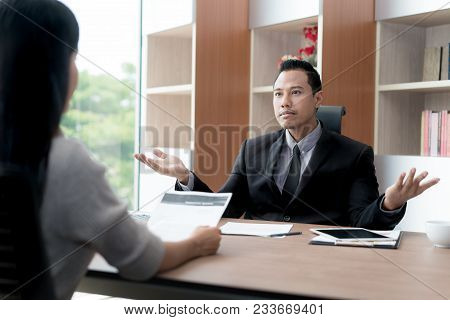 Business Negotiation, Male Partners Arguing, Funny Easygoing Woman Keeping Calm In Stressing Situati