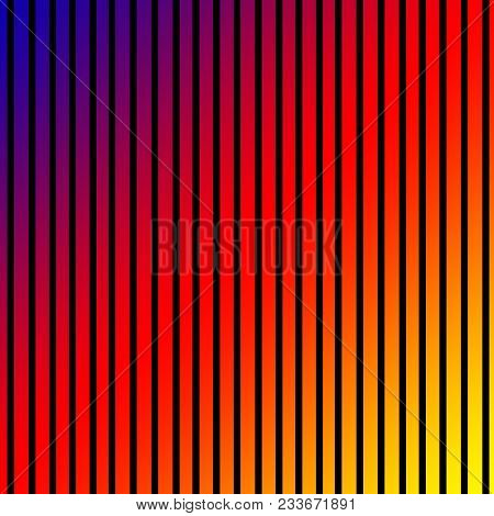 Rainbow Faded Background With Black Stripes Creating A Repeating Design.