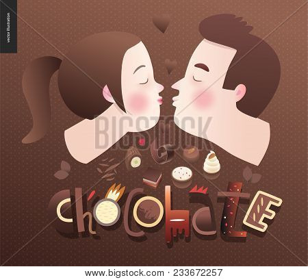 Love Spring Chocolate Slogan - Lettering Composition And A Kissing Couple And Chocolate Bars, Bonbon
