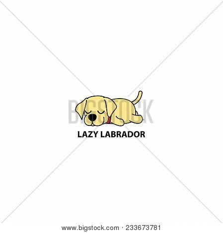 Lazy Dog, Cute Labrador Puppy Sleeping Icon, Logo Design, Vector Illustration