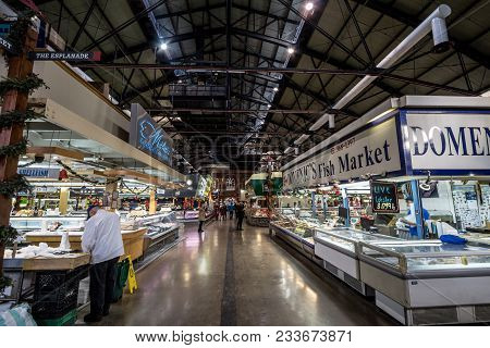 Toronto, Canada - December 20, 2016: Interior Of St Lawrence Market With Fish Market Stalls In The E