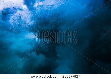 Wave Underwater Background. Tropical Ocean In Underwater
