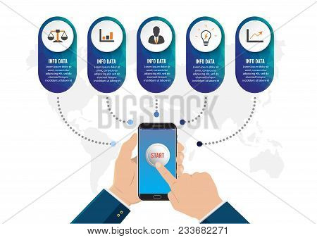 Hand Touching Smart Phone. Concept For Your Business. E-commerce Concept. Can Be Used For Your Busin