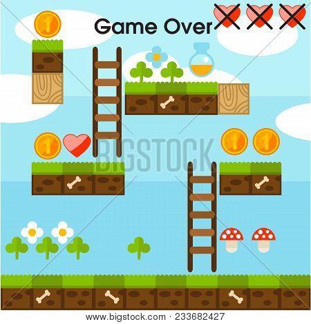 Game Over Video Platform Game Interface Design Background Vector Image