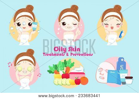 Woman With Oily Skin Treatment Preservation On The Blue Background