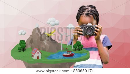 Digital composite of Girl photographing low poly cliff