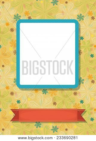 Graceful Greeting Card. Geometric Colorful Floral Pattern. Blue Frame For Custom Photo. Red Banner F