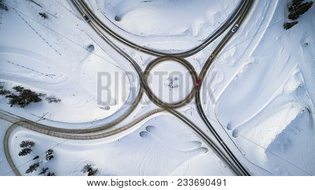 Aerial View Of A Winter Road. Winter Landscape Countryside. Aerial Photography Of Snow Forest. Captu