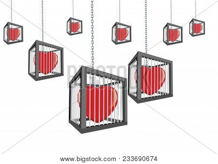 Cages With Closed Hearts Hanging Cages With Closed Hearts Hanging