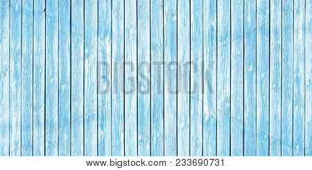 Old Wooden Planks Painted In Soft Blue Color. Shabby Chic Background