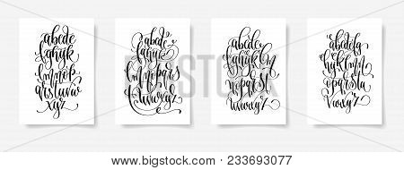 Set Of Four Black And White Hand Lettering Alphabet Design Posters, Handwritten Brush Script Modern