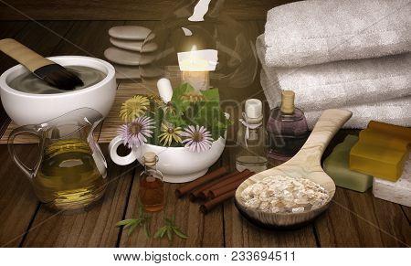 Clay Spa, Mask, Bath Salt, Cinnamon Sticks For Healthy Body And Face Skin. Aromatherapy. Luxury Spa