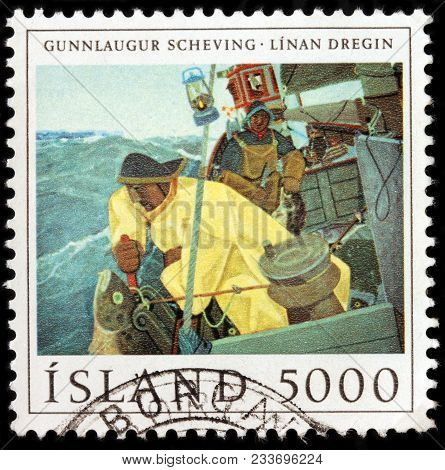 Luga, Russia - January 16, 2018: A Stamp Printed By Iceland Shows Painting Of Gunnlaugur Scheving. F