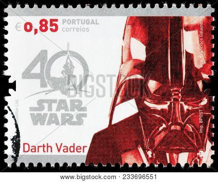 Luga, Russia - March 17, 2018: A Stamp Printed By Portugal Shows Darth Vader, Also Known By His Birt