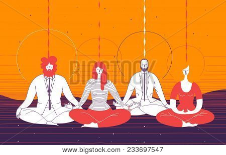 Several Office Workers In Smart Clothing Sit In Yoga Position And Meditate. Concept Of Business Medi