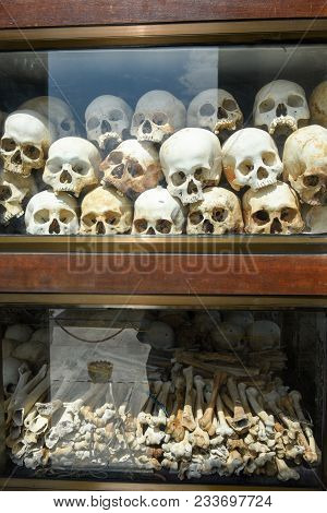 The Skulls Of Killing Fields Outside Of Phnom Penh, Cambodia