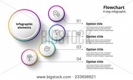 Business Process Chart Infographics With 4 Step Segments. Circular Corporate Timeline Infograph Elem