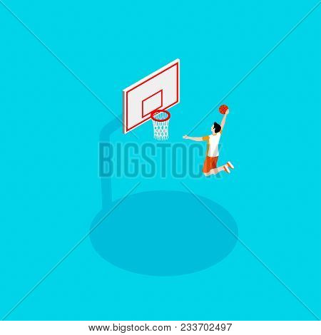 Basketball And Streetball In The Isometric Style, The Guy Sportsman Throws The Ball Into The Basketb