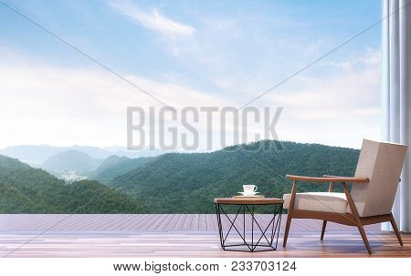 Lazy Chair With Mountain View 3d Render.the Room Has Wooden Floor.furnished With Wood And Fabric Fur