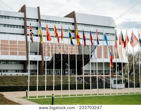 Strasbourg, France - Mar 29, 2018: Aerial View Of Flag Of Russia Flying Half-mast At Council Of Euro