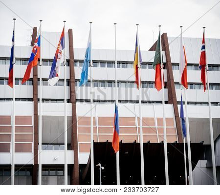 Flag Of Russia Flying Half-mast At Council Of Europe As A Tribute And Mourning Of Victims Of Fire At