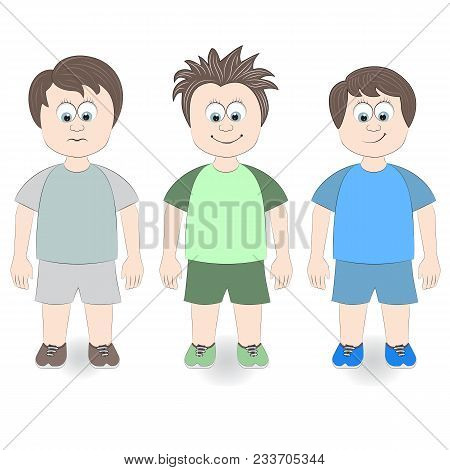Set Three Boys On A White Background. Vector Illustration