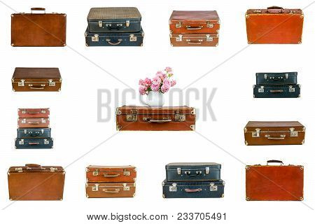 Collage Of Retro Travel Suitcases Isolated On White. Set Of Old Suitcases. Vintage Baggage. Vintage