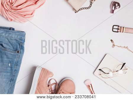 Stylish Woman's Outfit For Spring Or Summer.