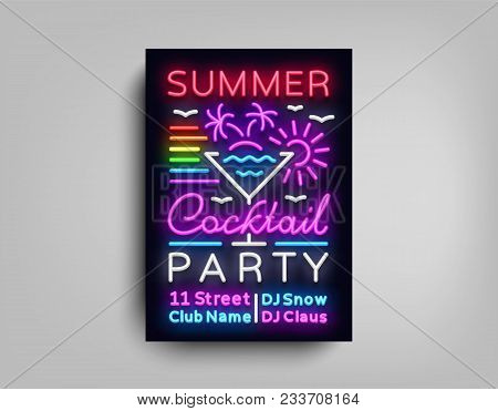 Cocktail Party Poster Neon. Flyer Template Design In Neon Style. Summer Cocktail Party Dance Invitat