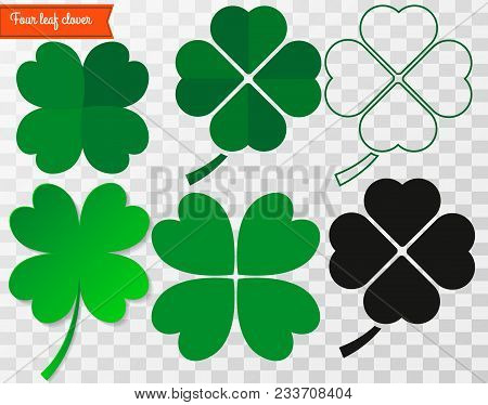 Four Leaf Clover. Vector Illustration. Clover St. Patrick's Day Symbol. Four Leaf Clover Icon .