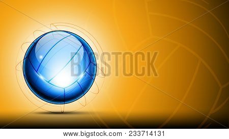 Sport Banner With 3d Abstract Transparent Shining Logo Of Glassy Volleyball Ball And Sketch Lines Ar